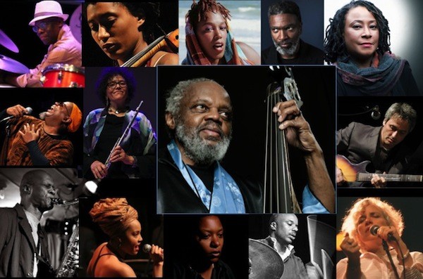 Circling Henry Grimes from left to right; Andrew Cyrille, Tomeka Reid, Imani Uzuri, Graham Haynes, Geri Allen, Marc Ribot Lisa Sokolov, Chad Taylor, Meshell Ndegeocello, Karma Mayet Johnson, Charles Gayle, Dwight Trible, Nicole Mitchell