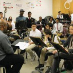 McBride with the Monk Institute's National septet and students from Northeast High School in Philadelphia.