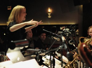 Maria conducting the band at their annual Thanksgiving week residency at Jazz Standard in NYC